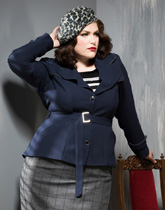 Persian blue with grey check skirt.165.210