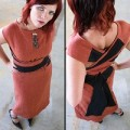 Crossover linen top.orange