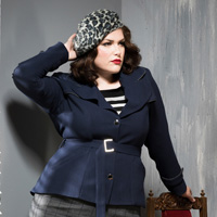 40.Persian blue with grey check skirt.200