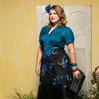 12 Danzon silk blouse teal. Miranda skirt tulips.200