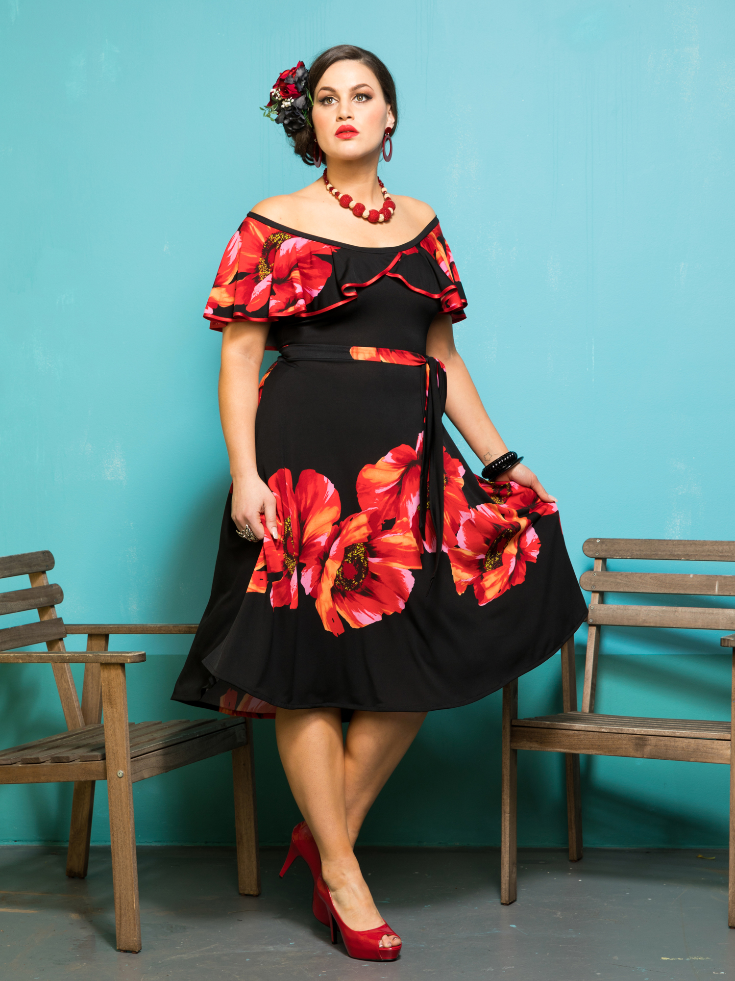 38 RUMBA RUFFLE DRESS.POPPY2.1500.2000