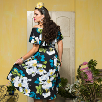 54 RUMBA RUFFLE DRESS.grandiflora bk.200