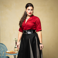 Audrey Blouse.red & Roman Holiday skt. blk.greige. thumb 1