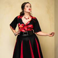 Cardinale.poppy. & Roman Holiday Skirt. bl.red 1.thumb