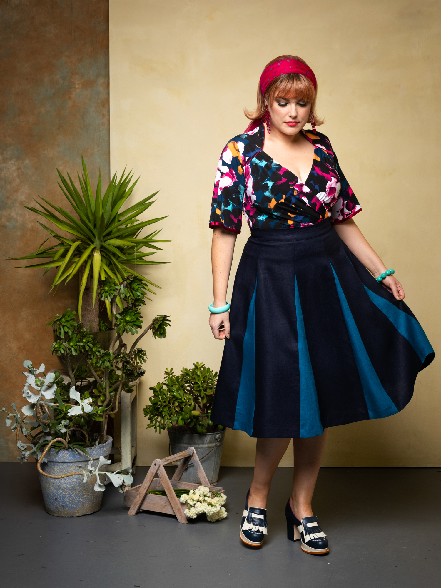 Cardinale.lantana. & Roman Holiday Skirt. navy.peacock 2.web