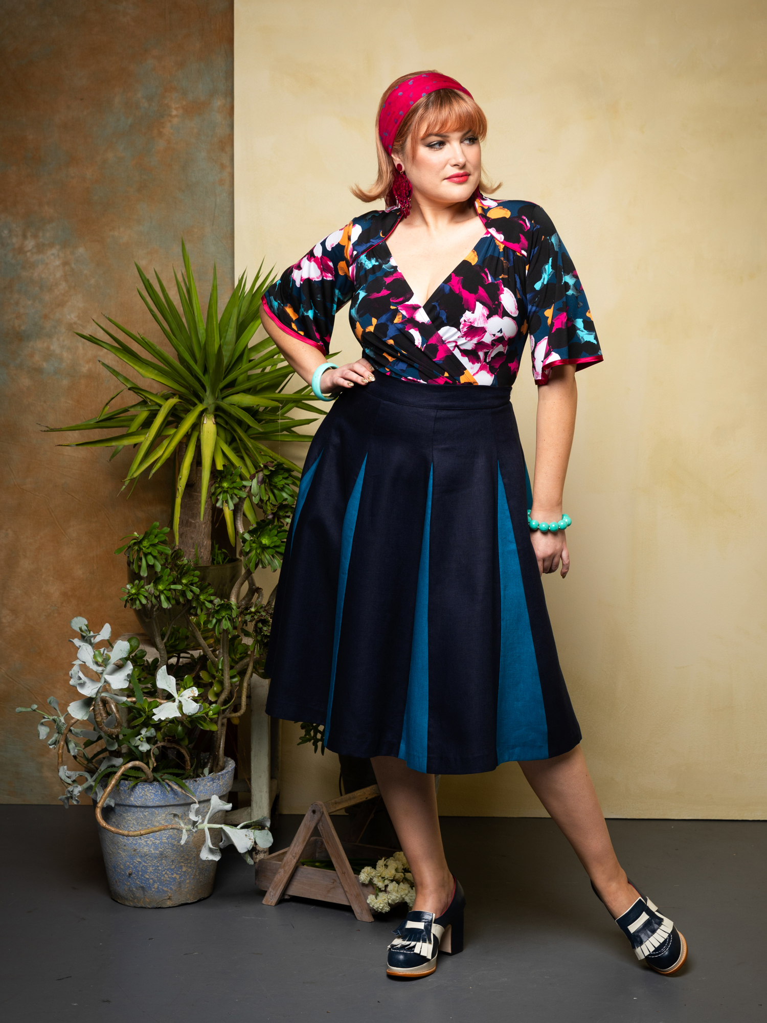 Cardinale.lantana. & Roman Holiday Skirt. navy.peacock 3.web