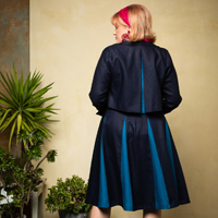 Sorrento Jkt. & Roman Holiday Skirt.navy.peacock.back. thumb